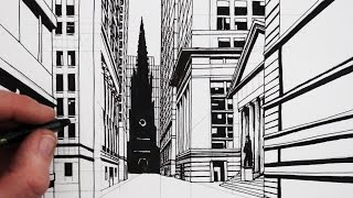 How to Draw a Road in Perspective: Wall Street, New York