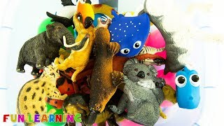 Learn Colors with Wild Animal Toys Animal Names For Kids To Learn