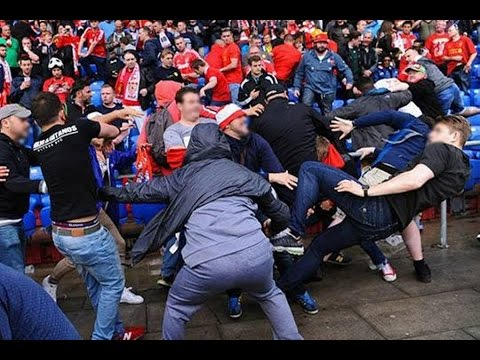 Liverpool fans fighting with Sevilla fans inside the stadium 18.05.2016