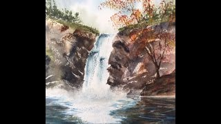 "Водопад акварелью. Waterfall in watercolour(Facebook, group "" Art Cafe"" Группа ""ART CAFE"" на Файсбуке: https://www.facebook.com/groups/artcafe7/ #tatjanabakerart., 2016-09-05T20:02:22.000Z)"