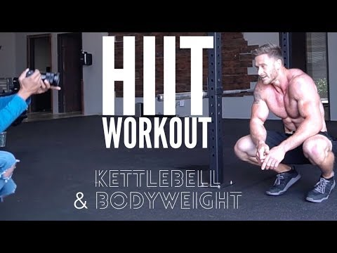 Follow Along HIIT Workout For Fat Loss: Bodyweight & Kettlebells- Thomas DeLauer