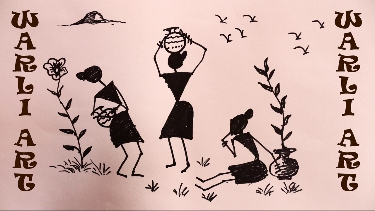 How To Draw Warli Art By Praveen Dl Youtube