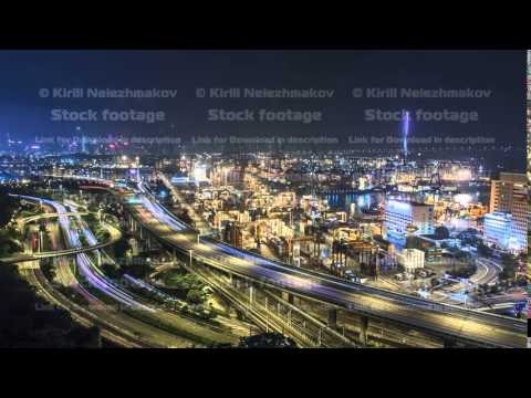 Hong Kong Skyline and Container Terminal at Night timelapse - Hong Kong Kwai Tsing Container