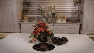 Flowers & Floristry Tutorial: Pomegranite and Berry Design in an LP Record Bowl