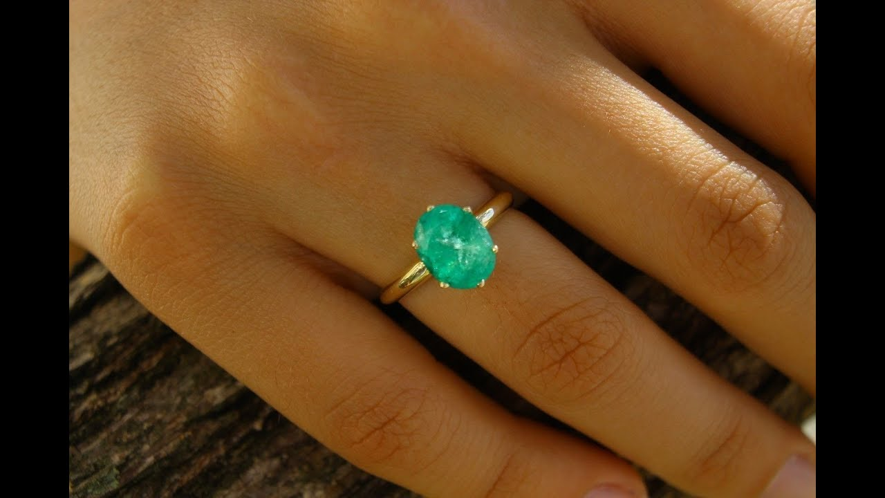 310cts Natural Colombian Emerald & Gold Solitaire Ladies Ring 14k