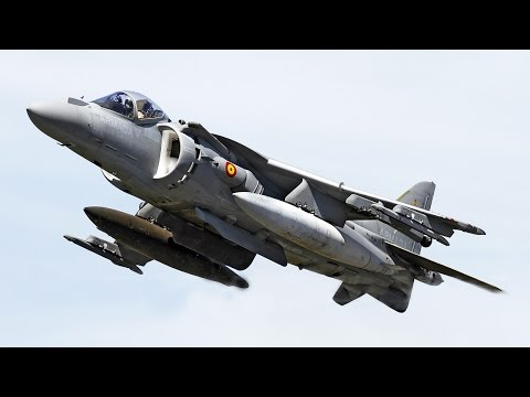 Harrier Jet Plane standing in the air !! Vertical Take-off and Landing of the AV8B Harrier (HD)