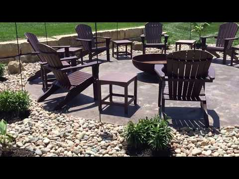Landscape ideas, back yard patio with metal fire pit