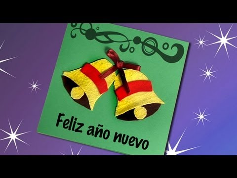 Postal de navidad con campanas manualidades para ni os - Como hacer tarjetas de navidad faciles ...