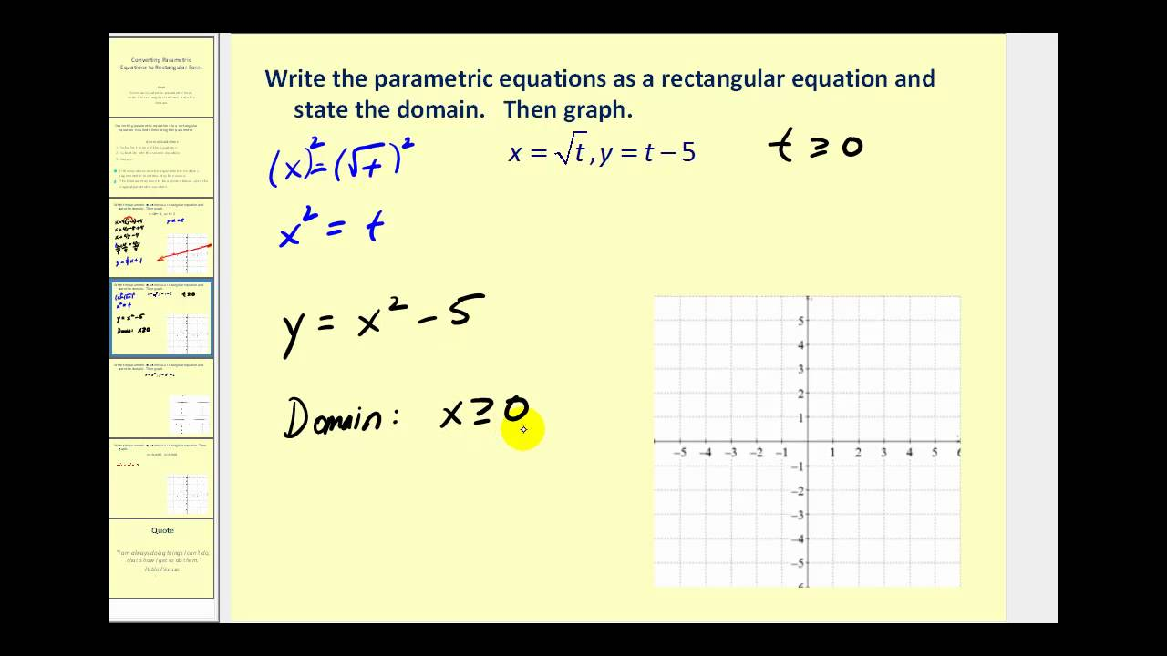 Converting Parametric Equation To Rectangular Form Youtube