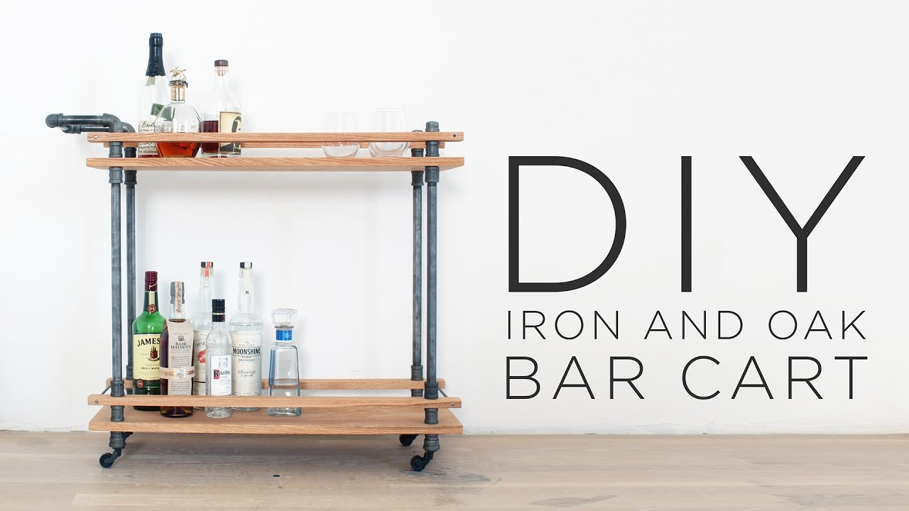 DIY Bar Cart   How to make a drink cart with iron pipes ...