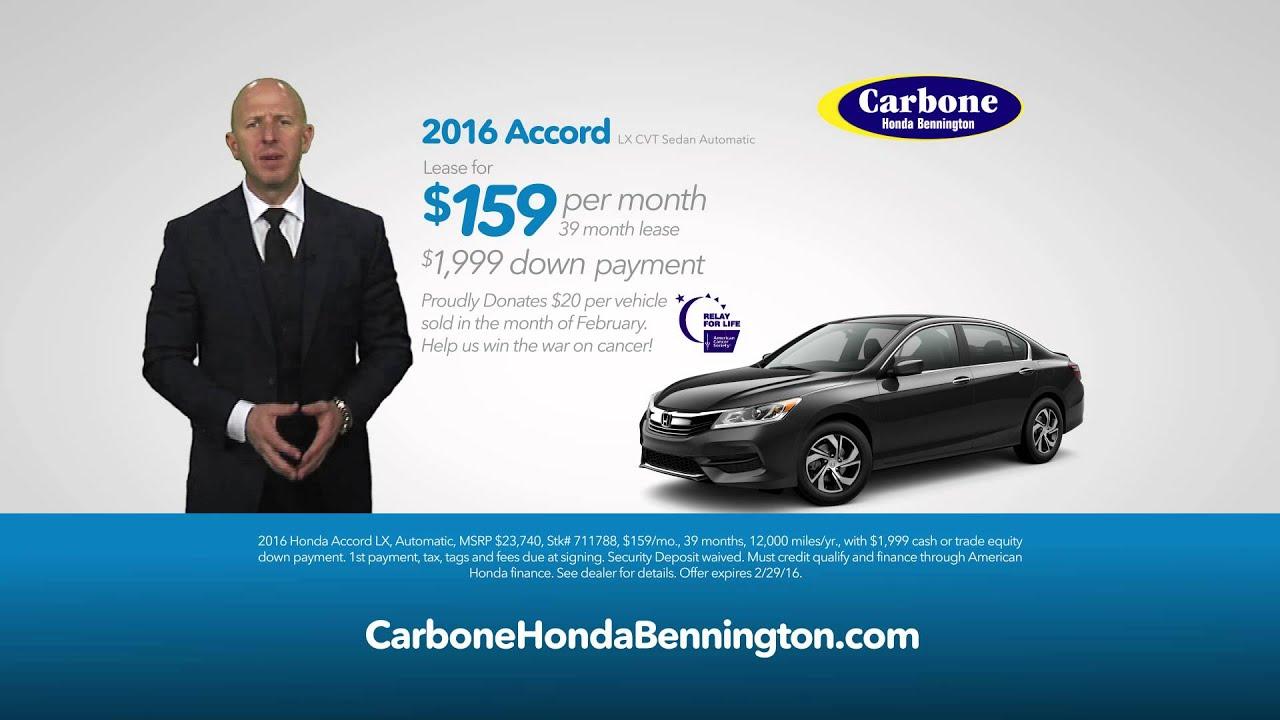 Carbone Honda Bennington February 2016