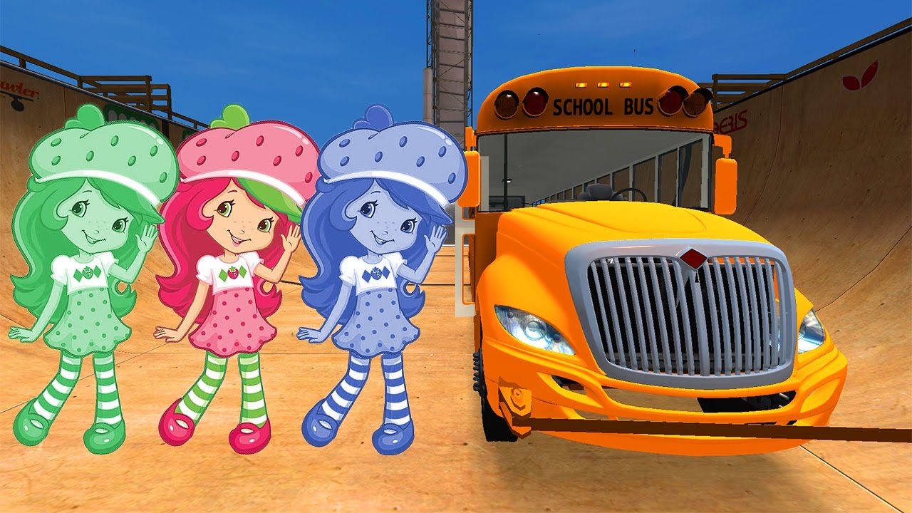 LEARN COLORS with Strawberry Shortcake Cars Cartoon w Bus Superheroes for babies and kids