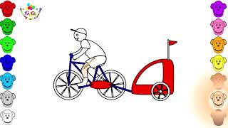 Bicycle With Trailer Coloring Page   For Kids Video