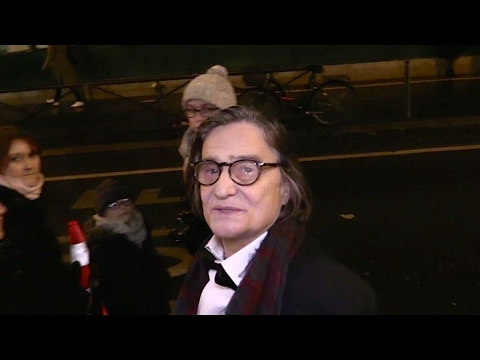 EXCLUSIVE : French actor Jean Pierre Leaud arriving at Ceremonie des lumbers in Paris