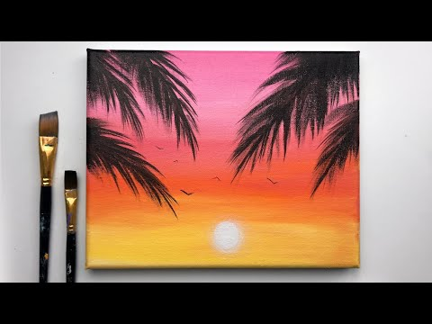 Simple Sunset Acrylic Painting For