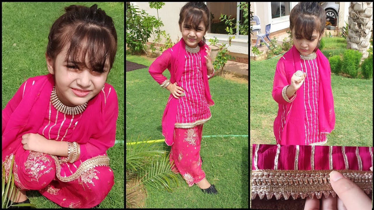 Eid dress with Gota work making ideas for 4 year girl detail video