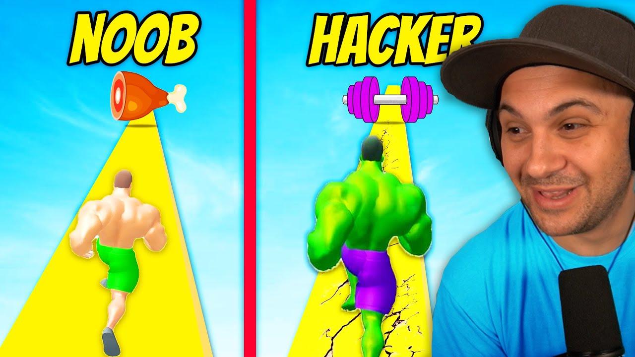 I Hit HACKER LEVEL In Muscle Rush 3D
