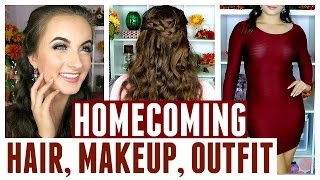 Get Ready With Me | Homecoming | Drugstore Makeup, Hair, & Outfit