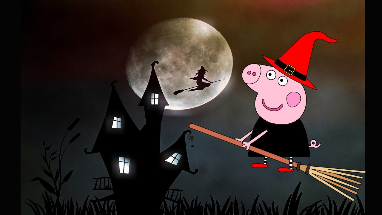 Coloring Pages Pig Witch Halloween Kids Animation