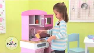 Kidkraft Home Cooking Kitchen 53198 Girls Pink Play Toy Kitchen At Http   Wooden Toys Direct Co Uk