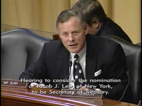 Senator Richard Burr questions at the Finance Committee hearing on the nomination of Jack Lew