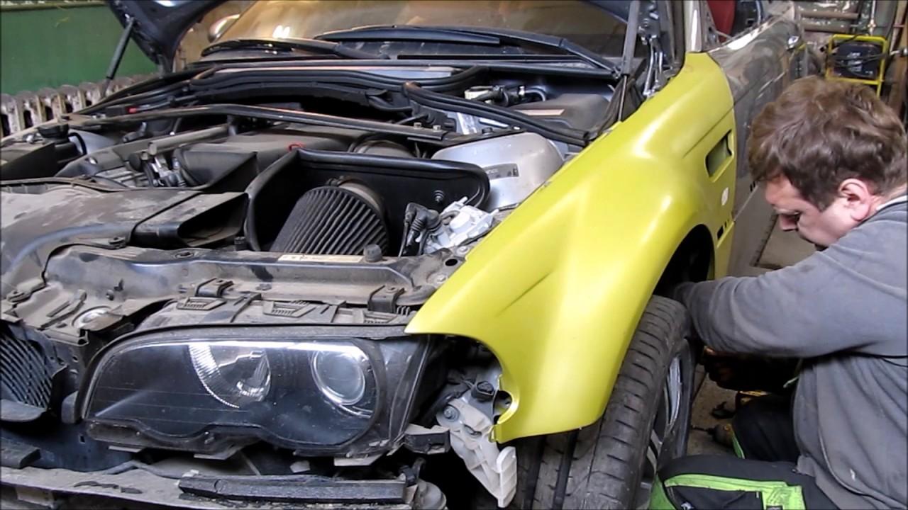 BMW M3.  The side body repair of the car . Ремонт бока машины.