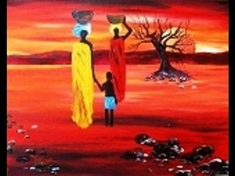 Acrylic painting on canvas African Sunset for Beginners ...