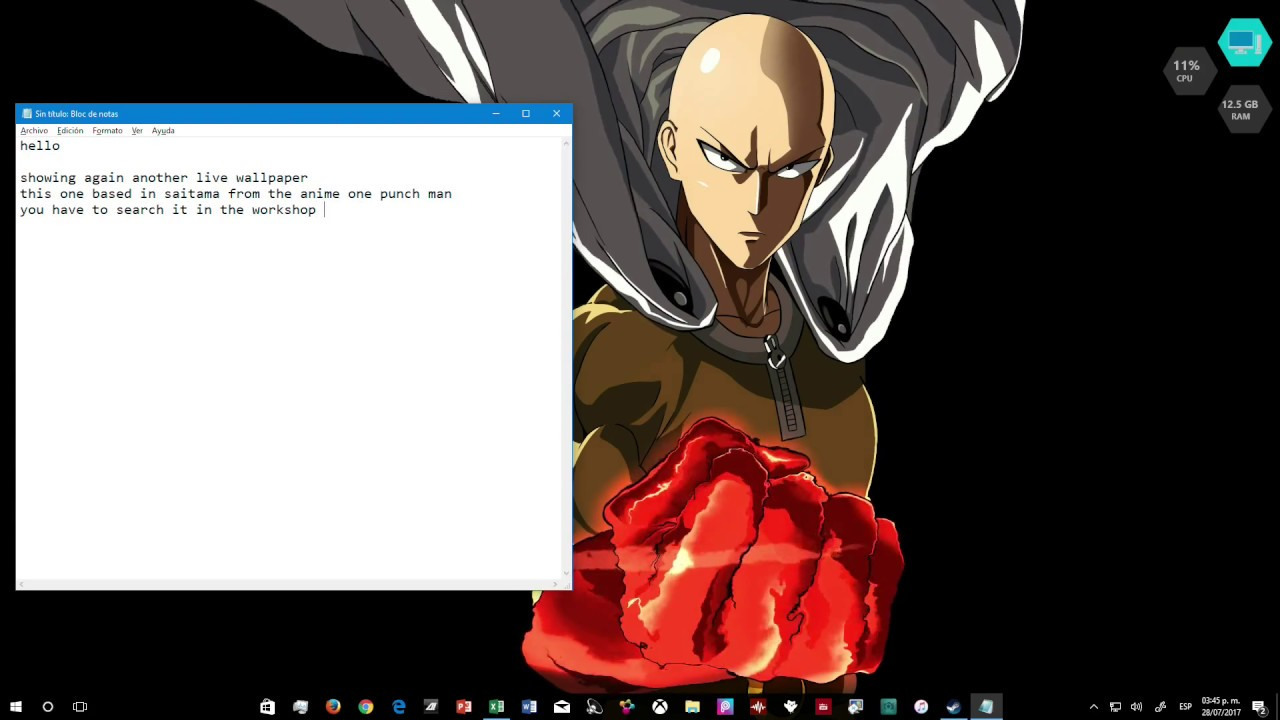 one punch man live wallpaper youtube