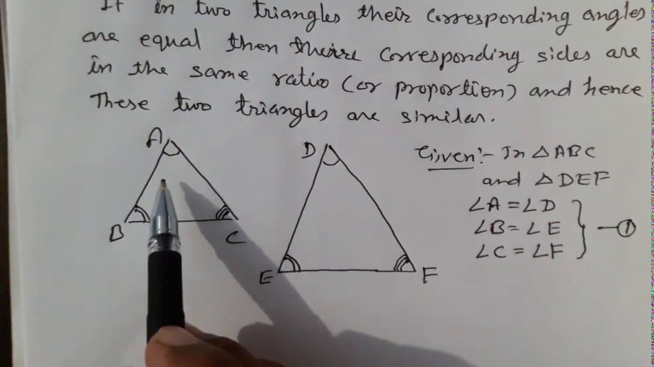 Angle Angle Angle A A A Similarity Theorem Ncert Solutions Class X Triangle Youtube