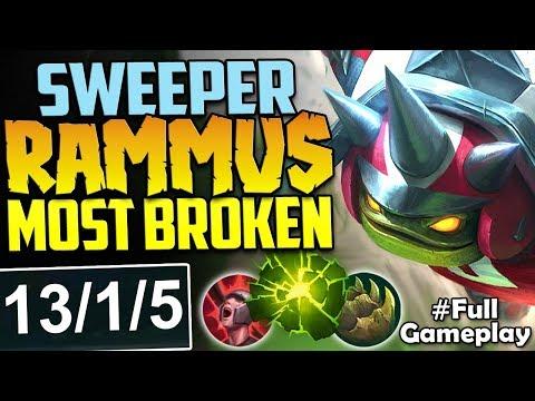 TOP LANE SWEEPER RAMMUS | THE MOST BROKEN DAMAGE EVER | TOP RAMMUS PBE NEW SKIN SEASON 8 GAMEPLAY