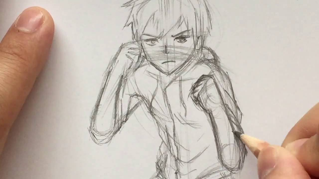 Line Drawing Boy : How to draw anime boy fighting pose stance slow narrated tutorial
