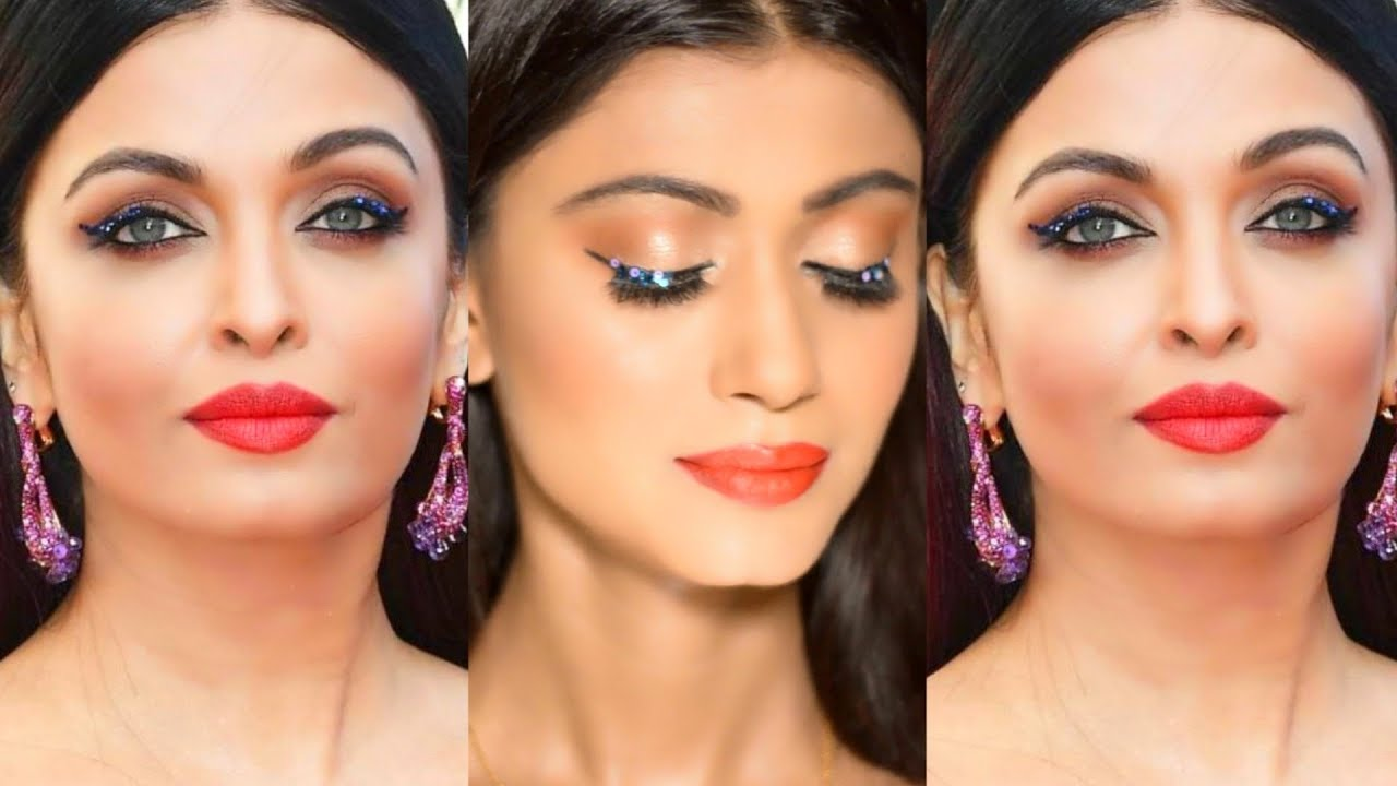 Aishwarya Rai Cannes Makeup 2018 Glitter Eyes Red Lips Sush