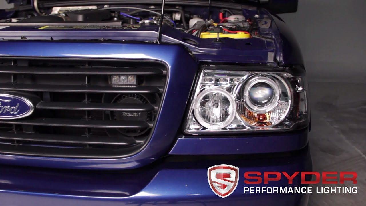 Spyder Auto Installation 2001 11 Ford Ranger 1pc Halo Projector Headlights