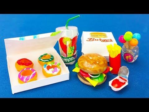 DIY Miniature Barbie Hacks : Mini food, Burger, Donuts, lemonade and More