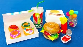 DIY Miniature Barbie Hacks : Mini food, Burger, Donuts, lemonade and More