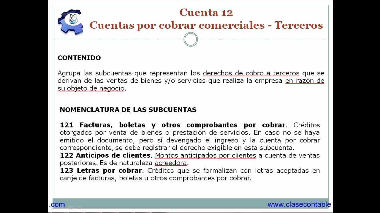Cuenta 12 - Cuentas por cobrar comerciales - Terceros - Parte 1 ...