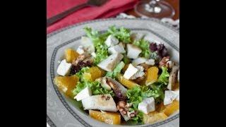 Простой рецепт куриного салата с фетой и апельсином