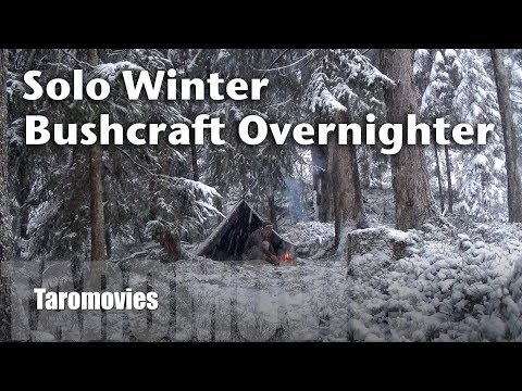 Winter Solo Mountain Overnighter HD Bushcraft Survival Video