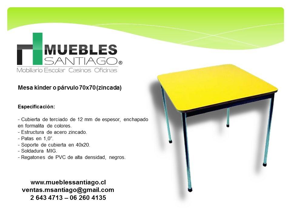 mesa k nder o p rvulo 70x70 zincada mobiliario para