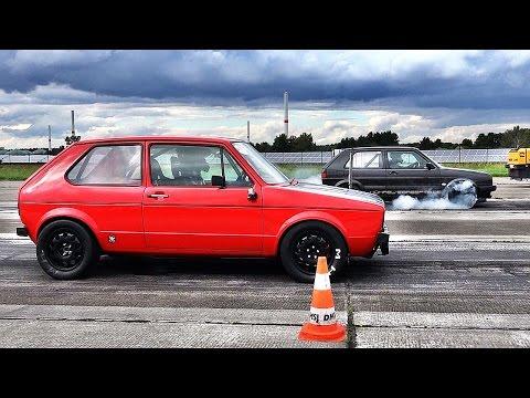 VW Golf 1 Turbo vs Golf 2 VR6 Turbo Brutal Fast Acceleration