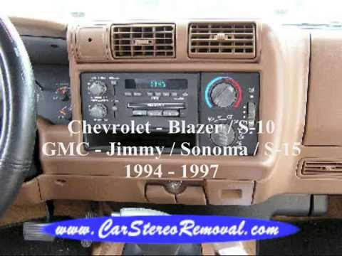 Chevrolet - Blazer, S10 and GMC - Jimmy, Sonoma, S15 Stereo Removal
