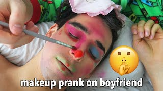 I Do My Boyfriends Makeup While He's Sleeping PRANK!!!