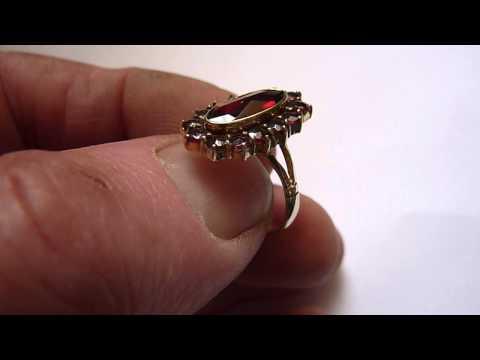 Vintage German 8ct Gold & Bohemian Garnet Ring. Size. O