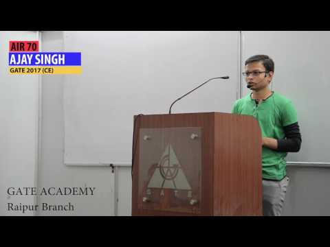 Ajay Singh AIR 70 (CE) GATE 2017 giving tips for GATE 2018