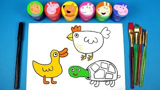 Peppa Pig Friends & Pets Drawing and Painting with Suzy Sheep Candy Cat Freddy Fox George Pig Toys