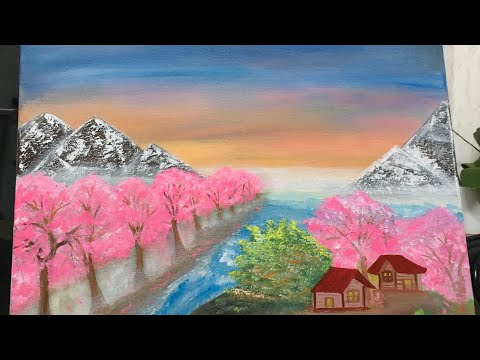 Painting a landscape with acrylic paint/ painting Cherry blossom/painting Mountains/ 'Winter Blush'