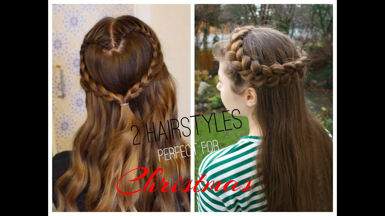 2 cute and easy CHRISTMAS HAIRSTYLES ❤