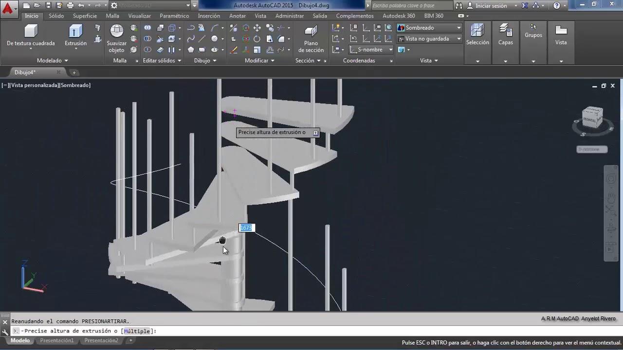 Como hacer una escalera de caracol en autocad 3d youtube for Como hacer una escalera caracol metalica