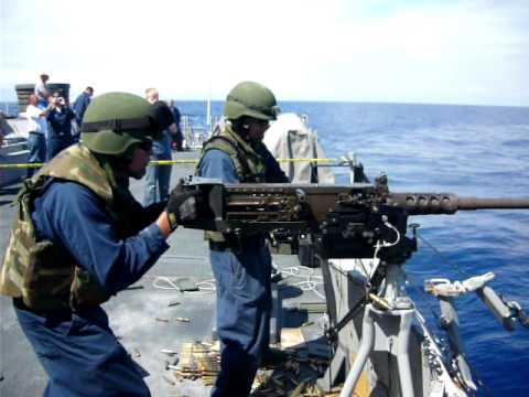 .50 cal demo on USS Milius
