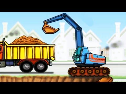 การ์ตูน เกมส์รถแม็คโครตักดินใส่รถดั้ม รถบรรทุก แม็คโครการ์ตูน [ วีดีโอสำหรับเด็ก] Excavator Kids